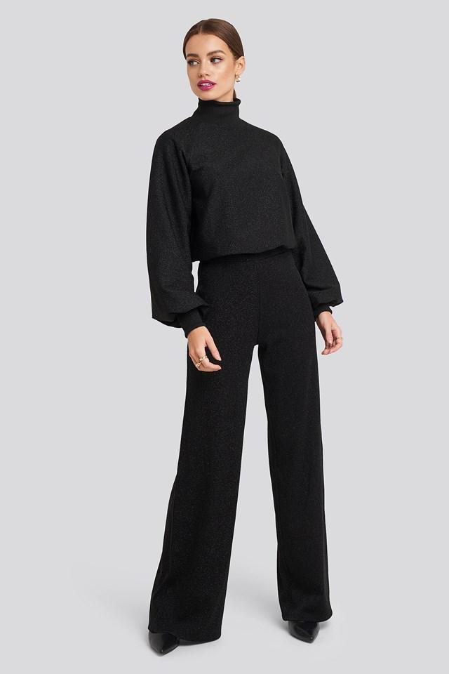 High Waist Wide Leg Lurex Pants Black