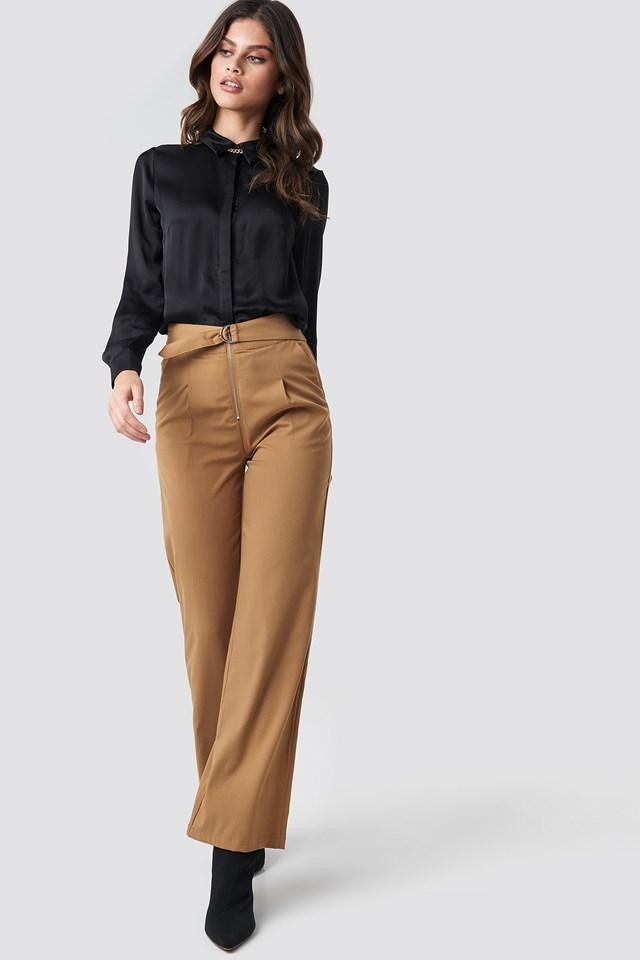 High Waist Zip Detail Pants Brown