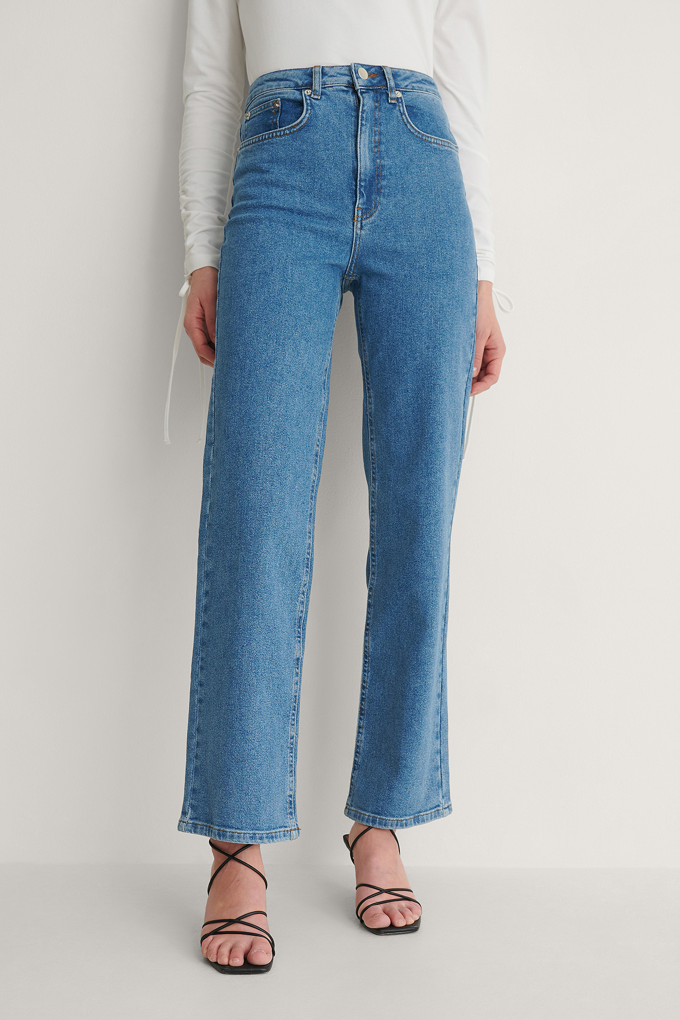 Denim Blue Organic High Waisted Straight Jeans