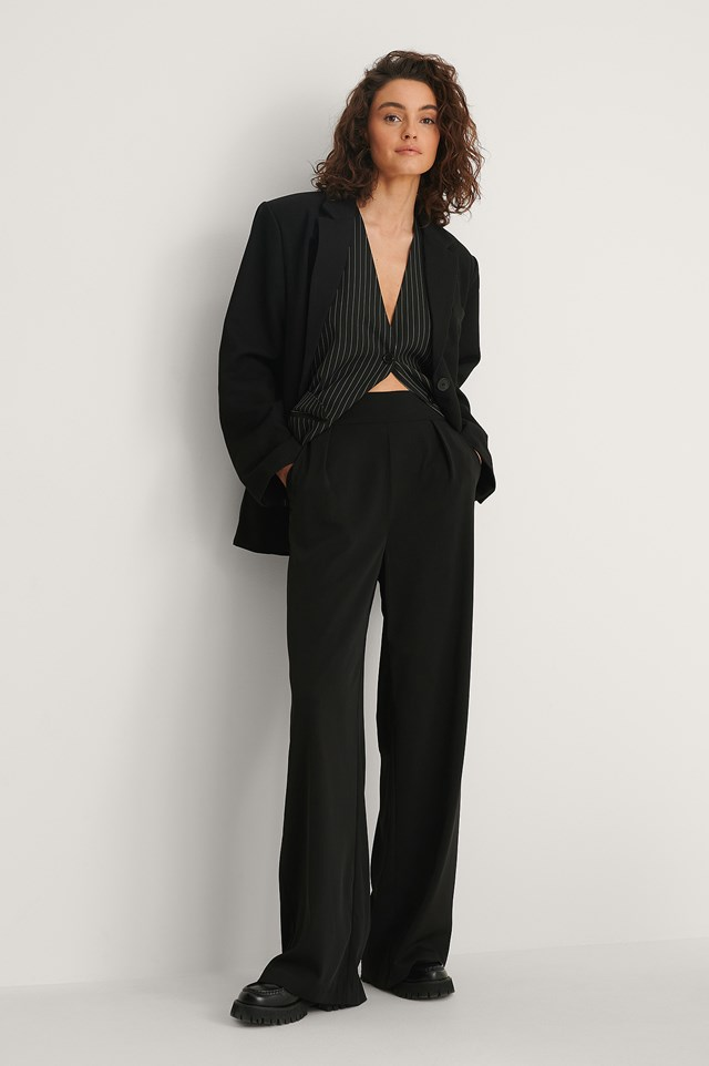 High Waisted Wide Leg Suit Pants Black