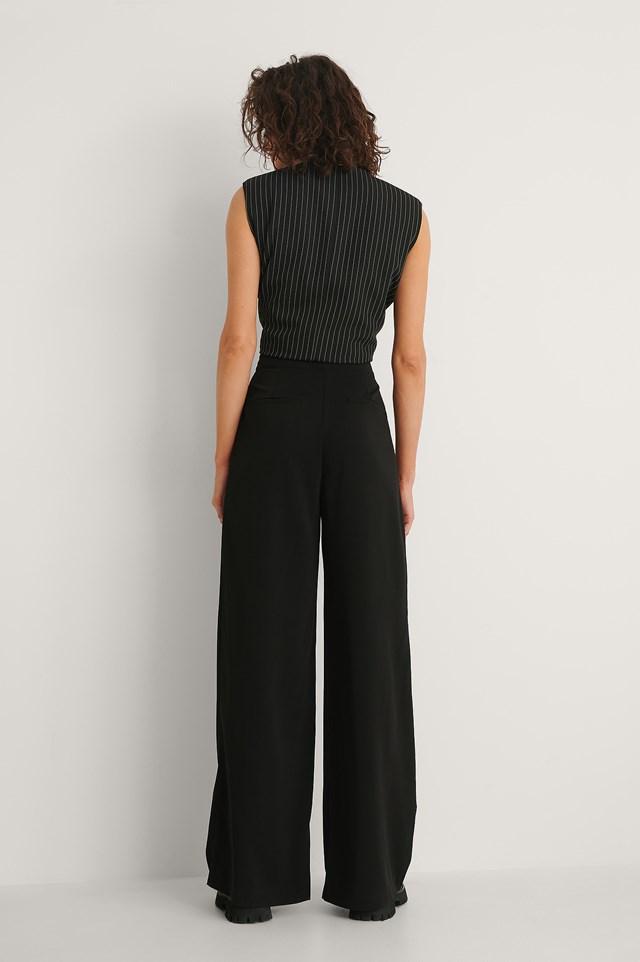 High Waisted Wide Leg Suit Pants Black