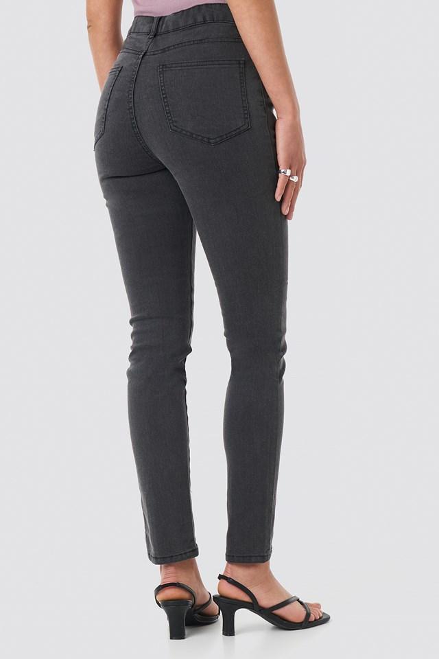 Highwaist Skinny Front Slit Jeans Grey