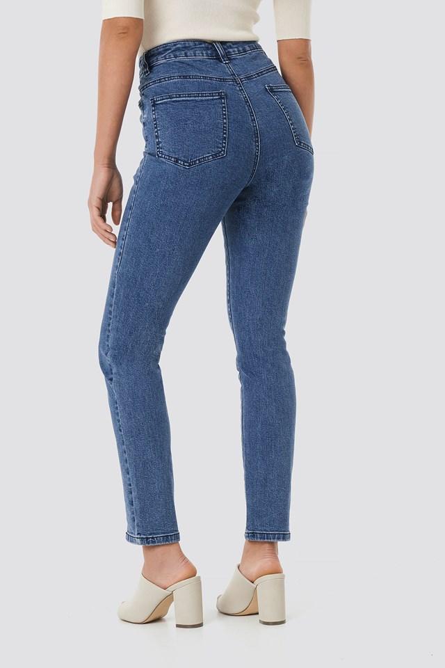 Highwaist Skinny Front Slit Jeans Mid Blue