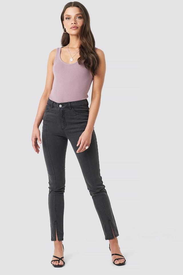 Highwaist Skinny Front Slit Jeans NA-KD