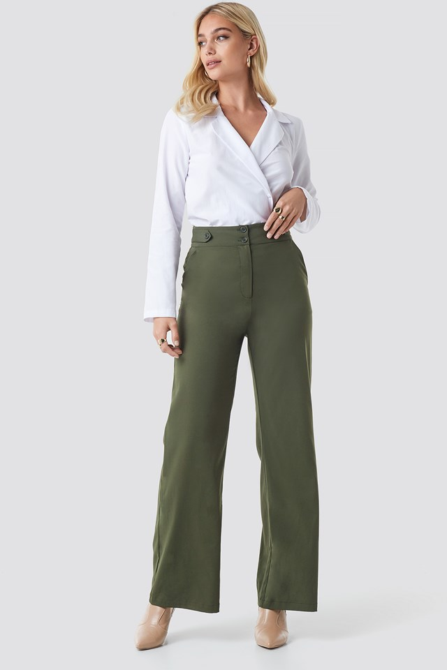 Highwaisted Wide Leg Pants NA-KD Trend