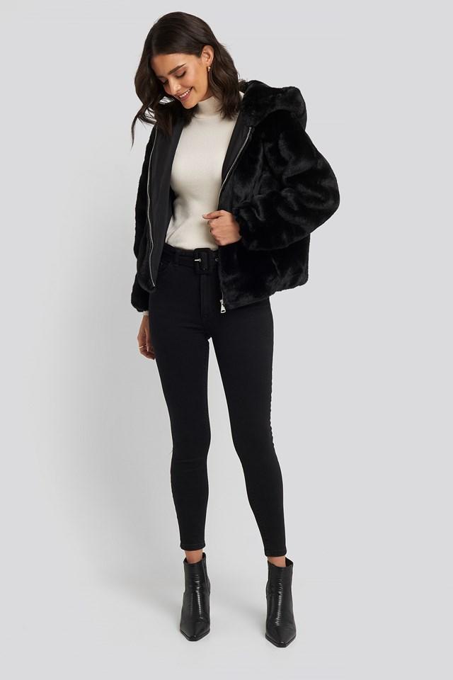 Hooded Faux Fur Jacket Black