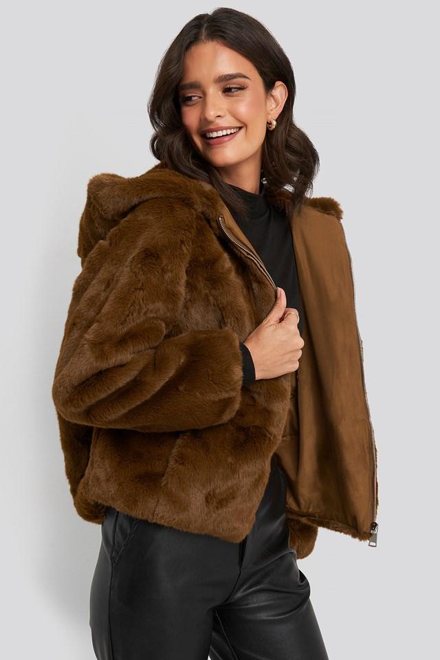 Hooded Faux Fur Jacket Brown