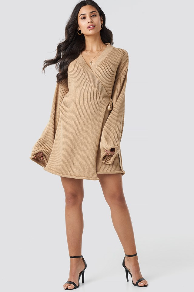 Overlap Knitted Dress Beige