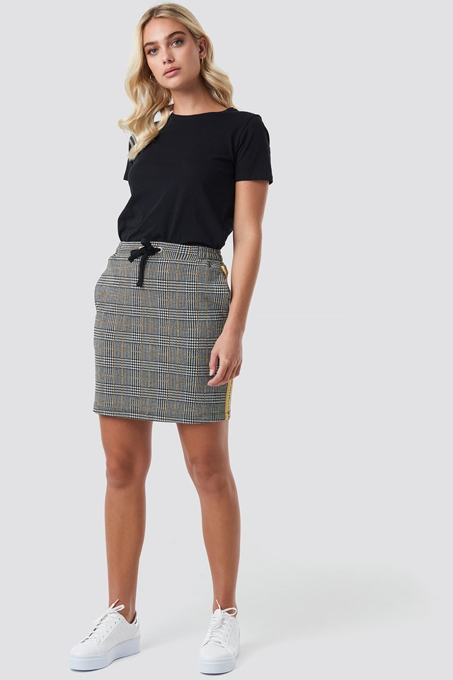 Jacquard Check Skirt Black/White/Yellow