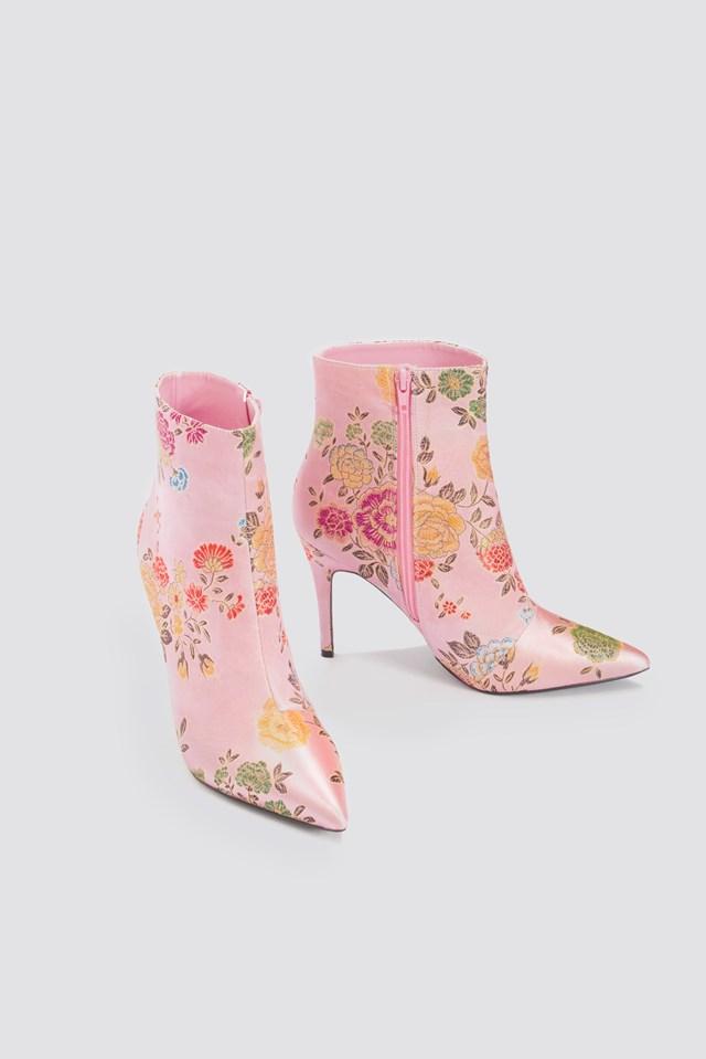 Jacquard Flower Satin Boots Pink Flower