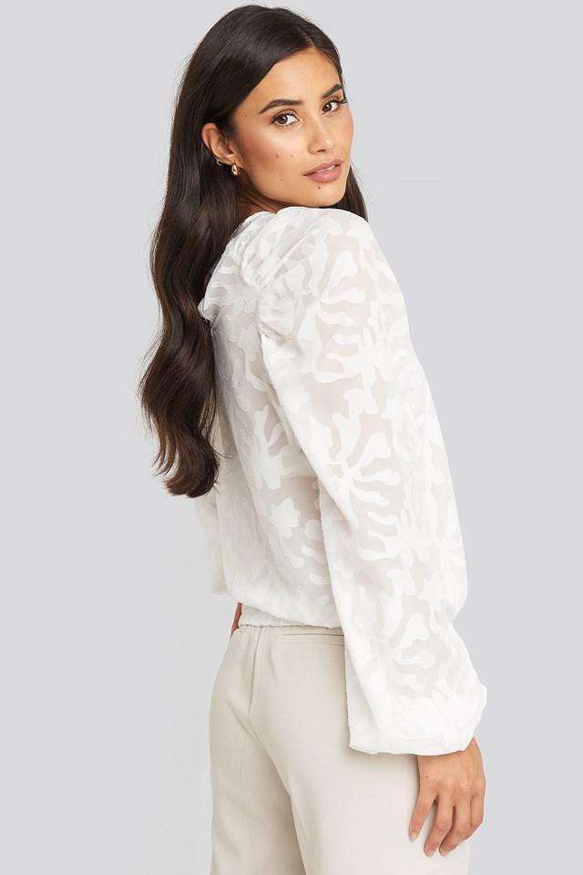 Jaquard Gathered Shoulder Blouse White