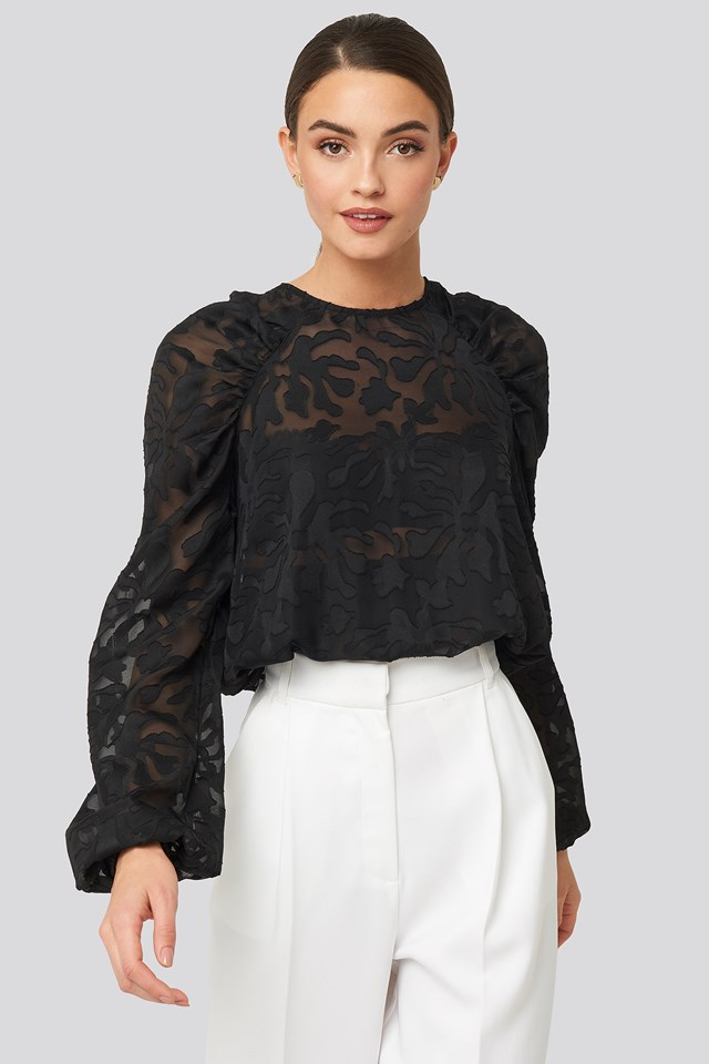 Jaquard Gathered Shoulder Blouse Black