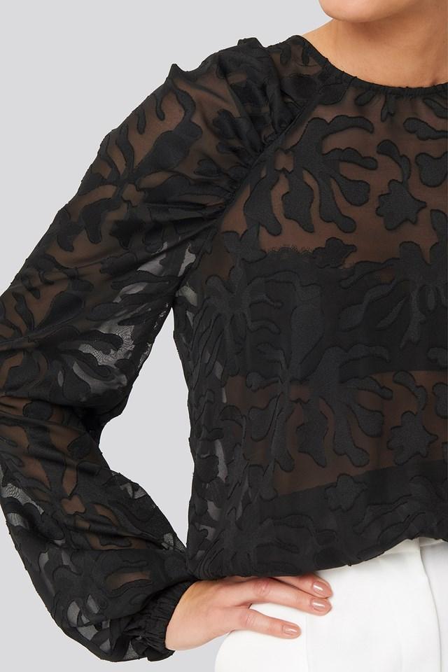 Jaquard Gathered Shoulder Blouse Black