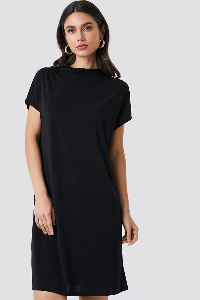 Jersey Cap Sleeve Dress Black