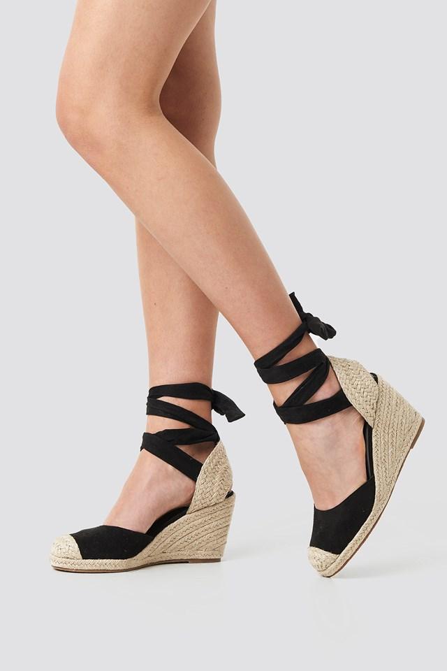 Jute Wedge Heel Sandals Black