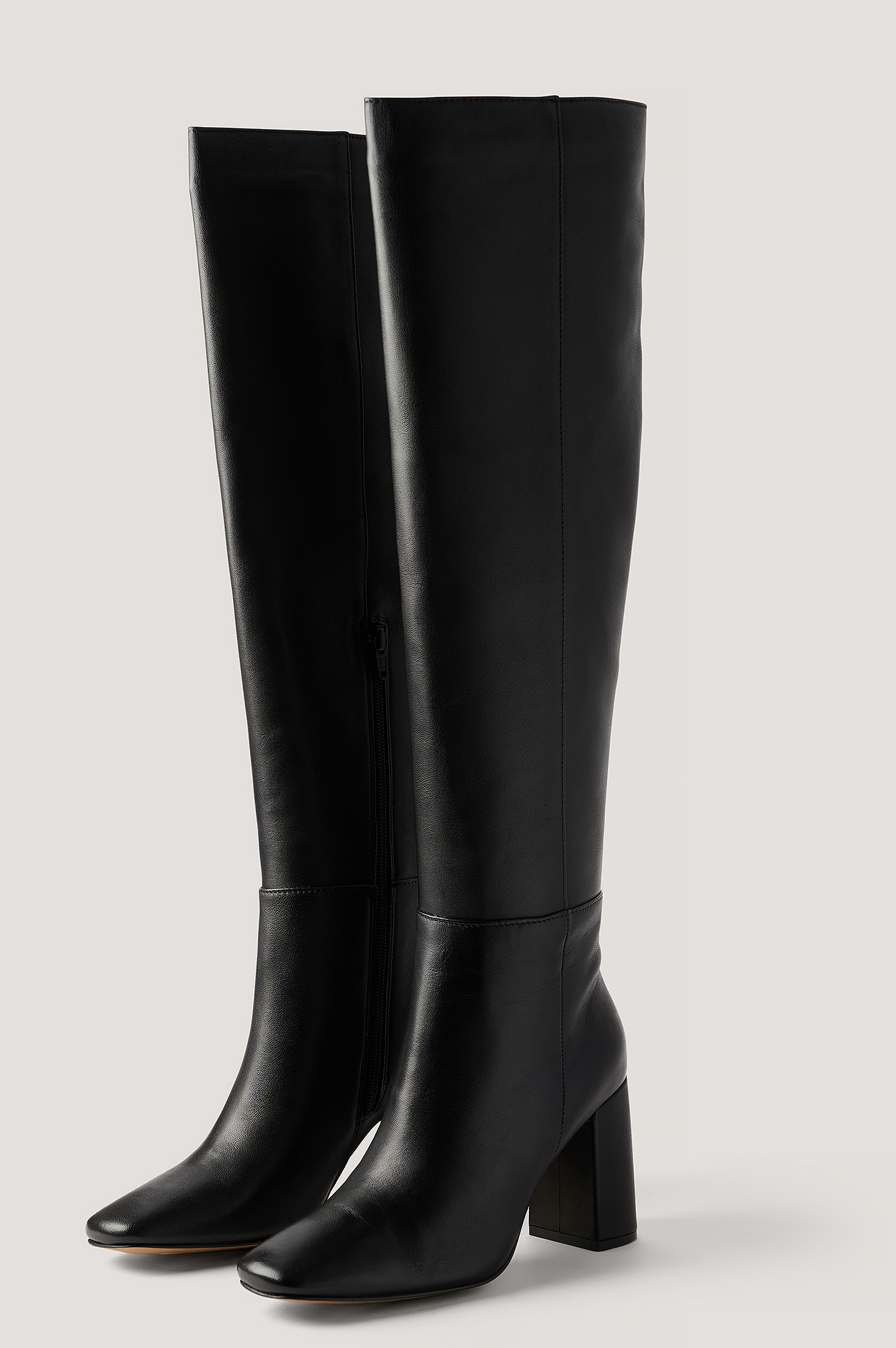 Black Knee High Leather Boots