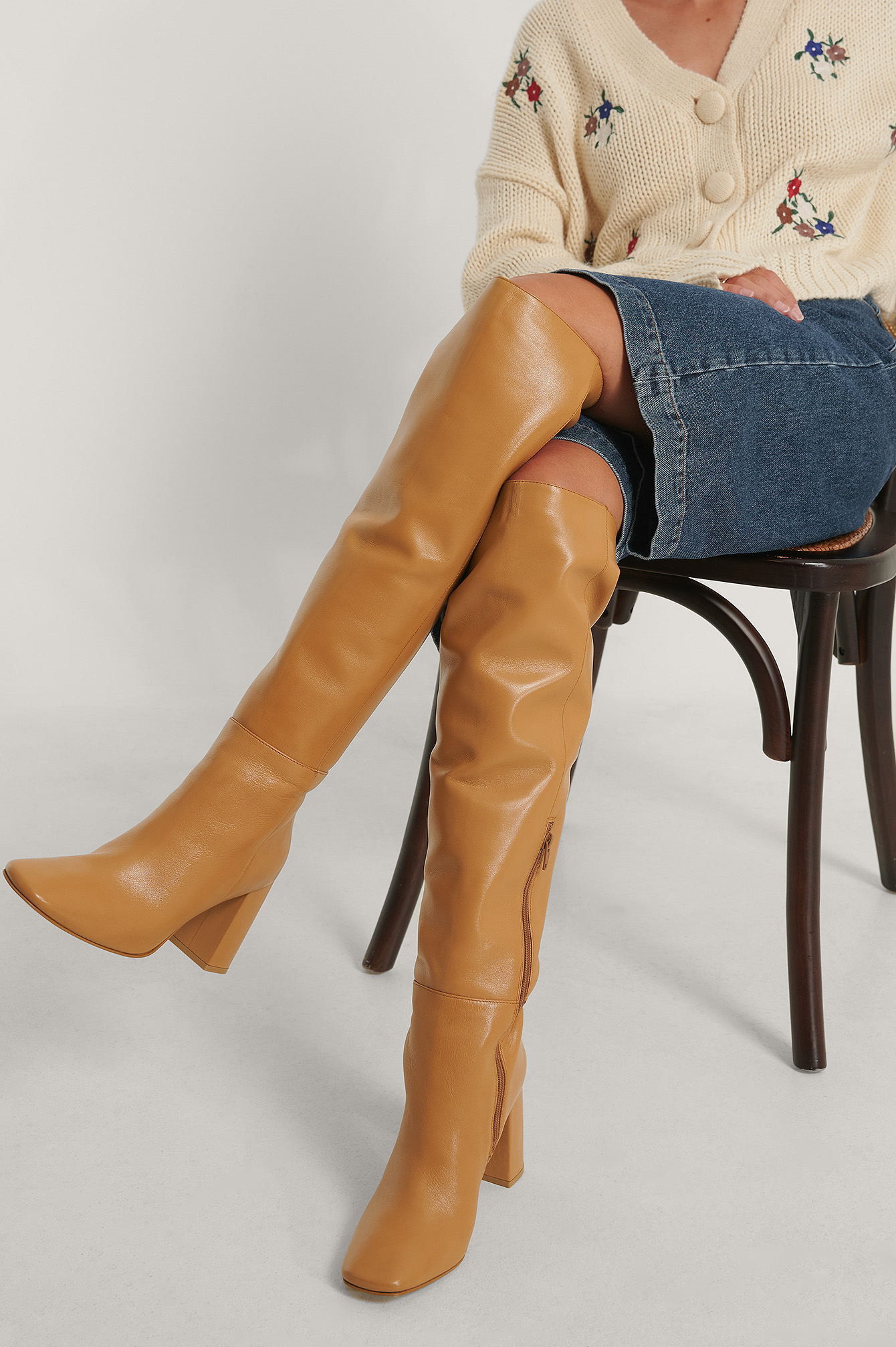 Tan Knee High Leather Boots