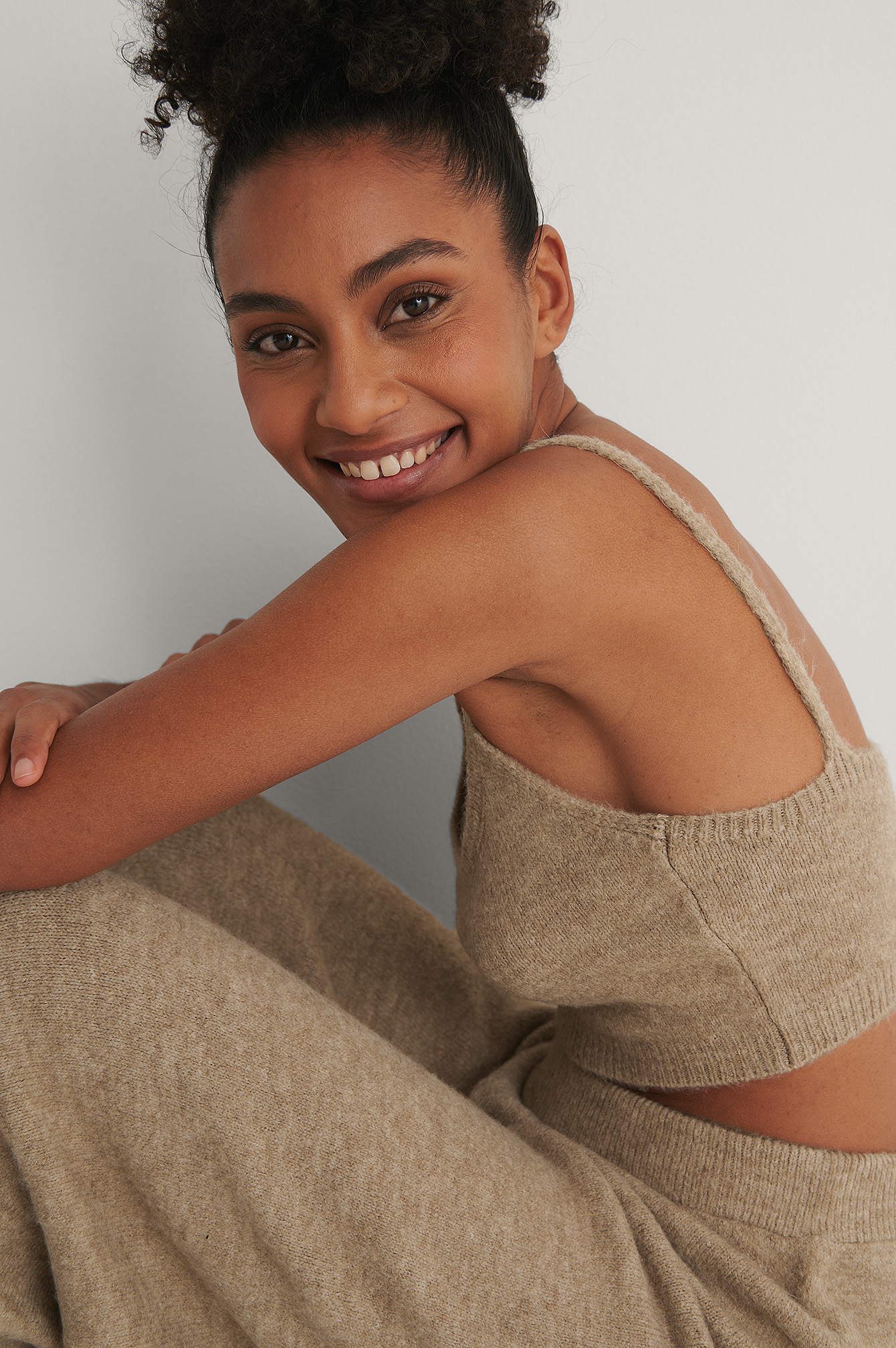 Beige Knitted Cropped Top