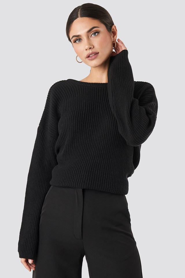 Knitted Deep V-neck Sweater Black