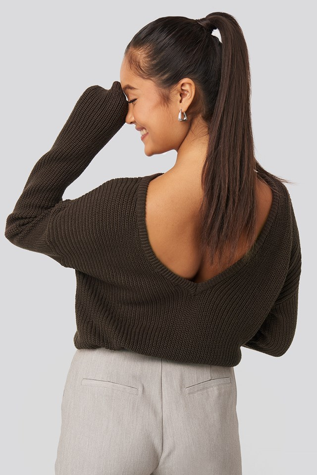 Knitted Deep V-neck Sweater Brown