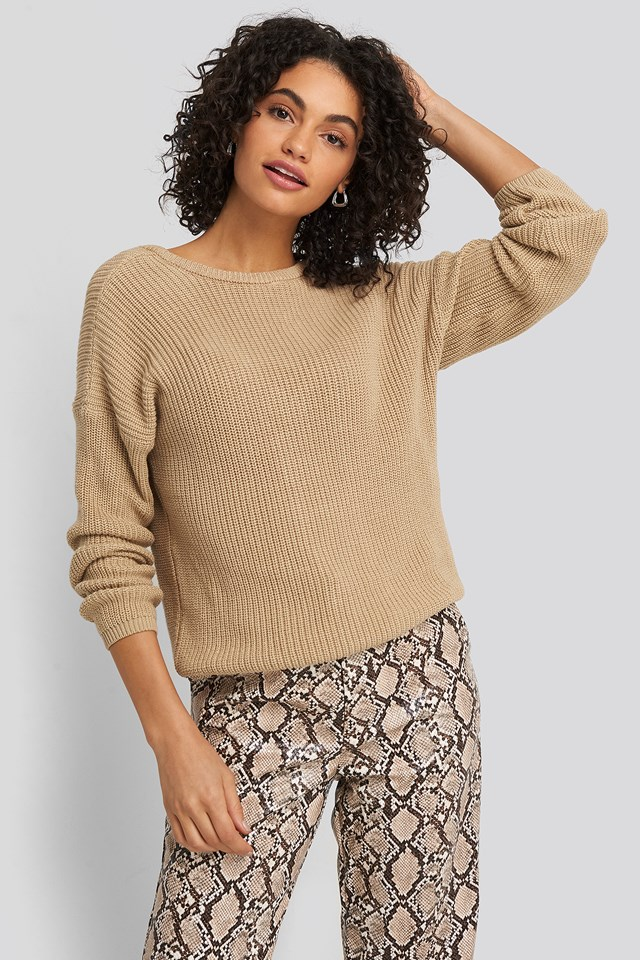 Knitted Deep V-neck Sweater Beige