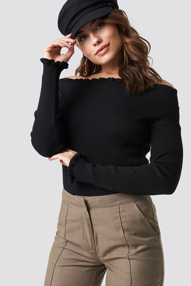 Knitted Frill Off Shoulder Sweater Black