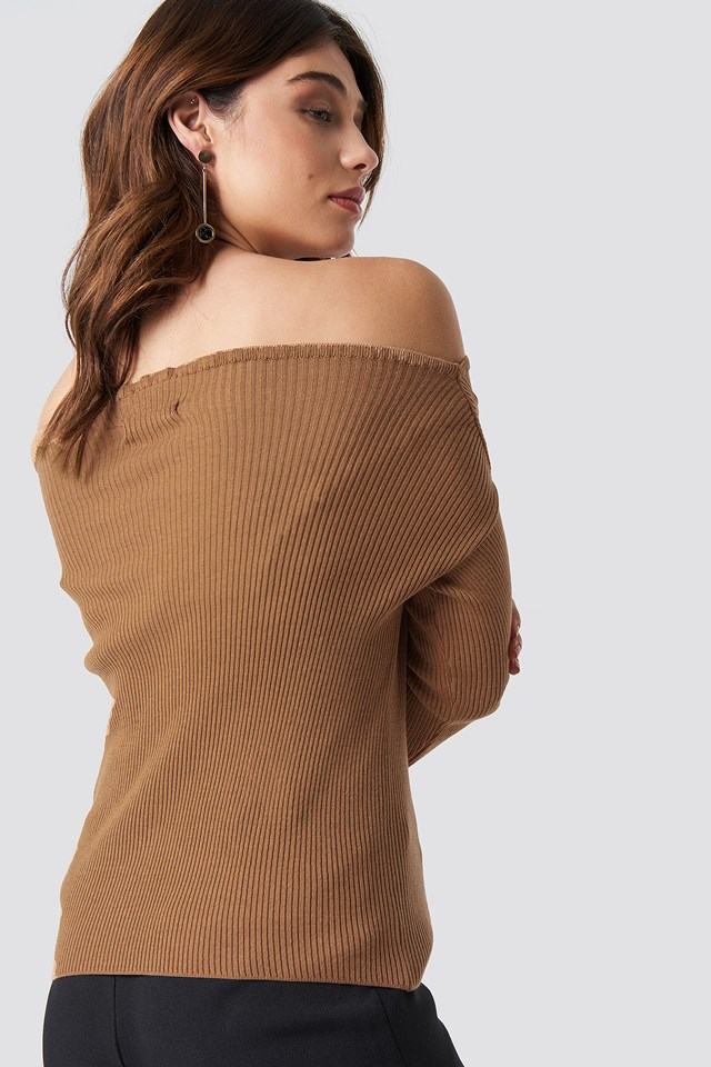 Knitted Frill Off Shoulder Sweater Beige