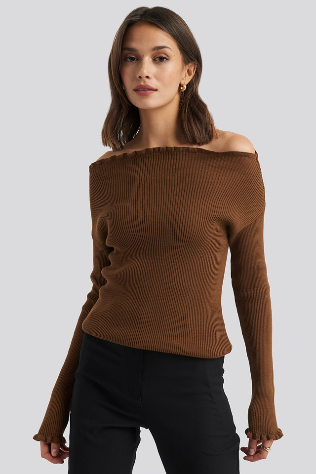 Knitted Frill Off Shoulder Sweater Brown