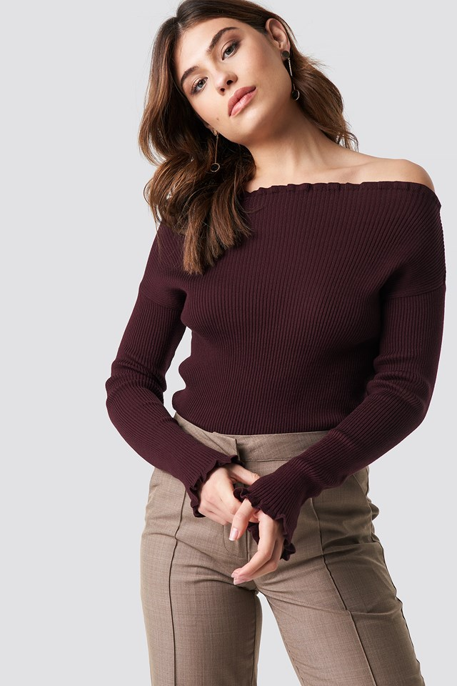 Knitted Frill Off Shoulder Sweater Burgundy