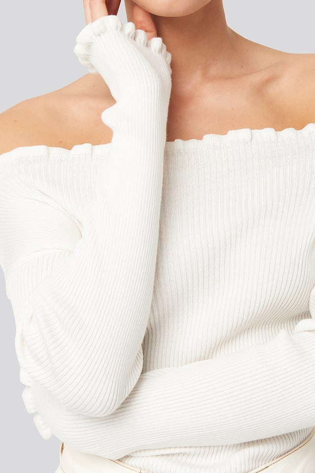 Knitted Frill Off Shoulder Sweater Offwhite