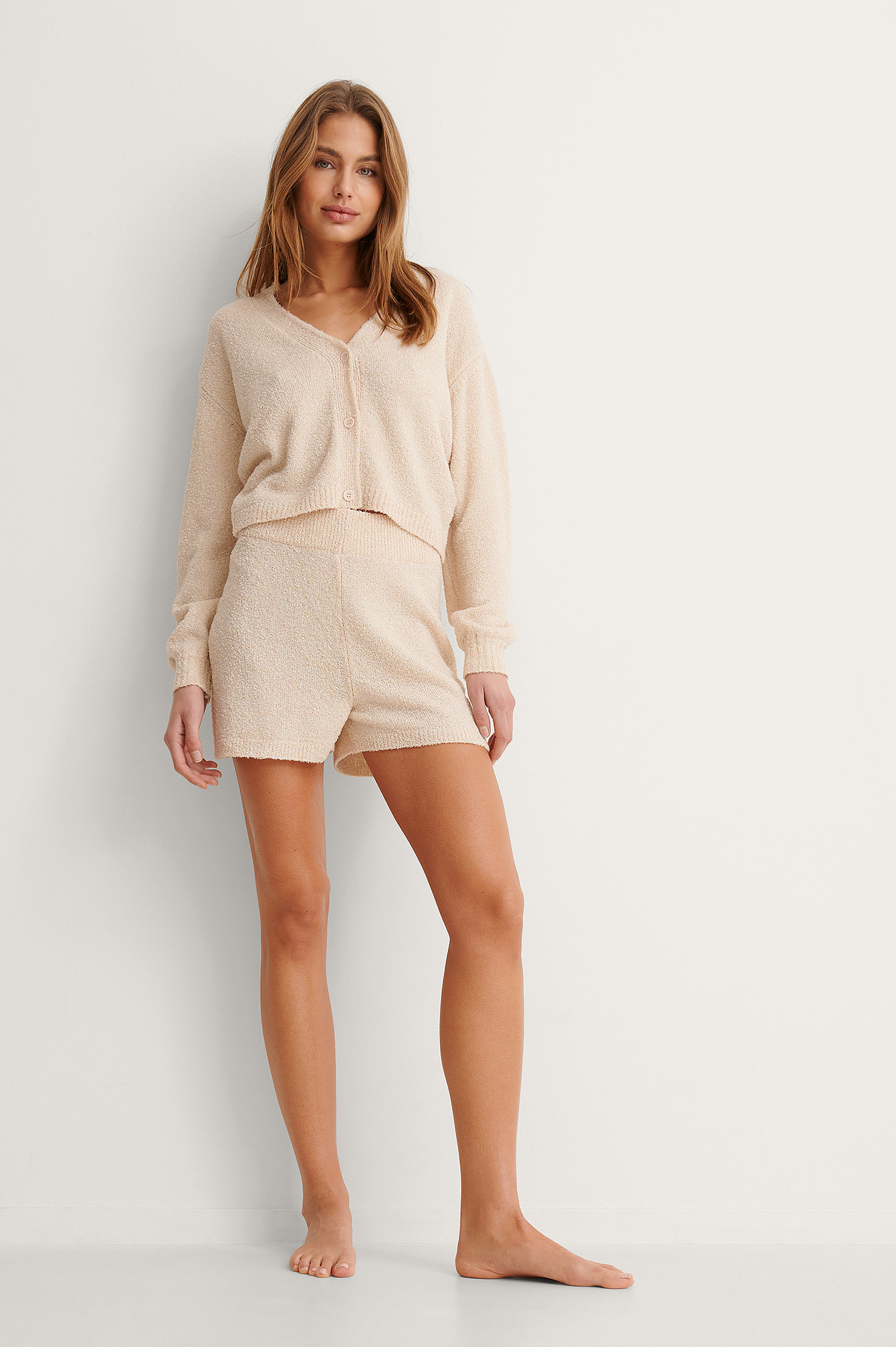 Light Beige Knitted Loose Shorts