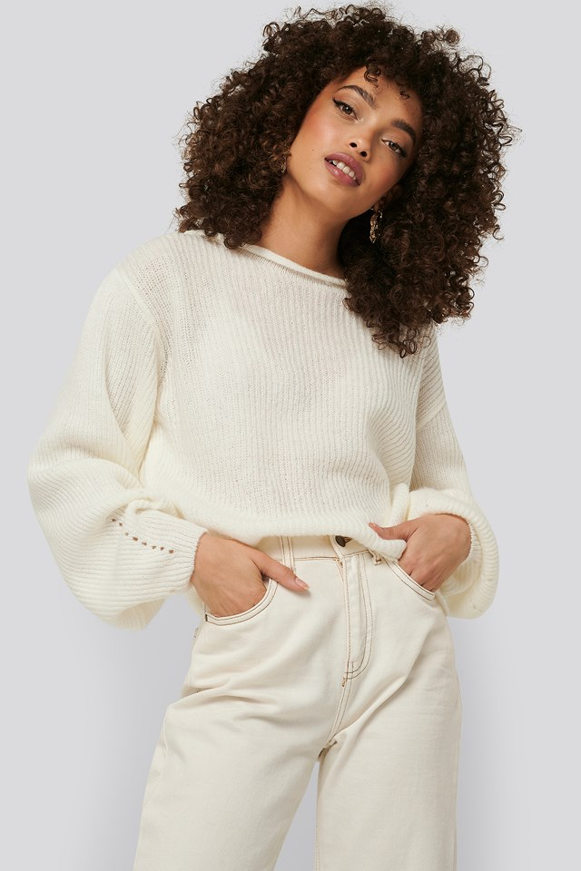 Knitted Short Puff Sleeve Sweater White