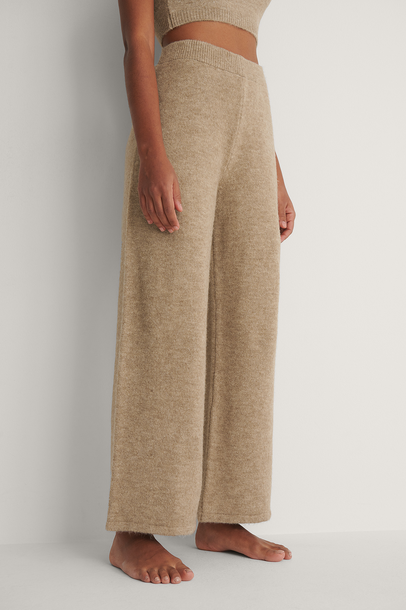 Beige Knitted Wide Cropped Trousers