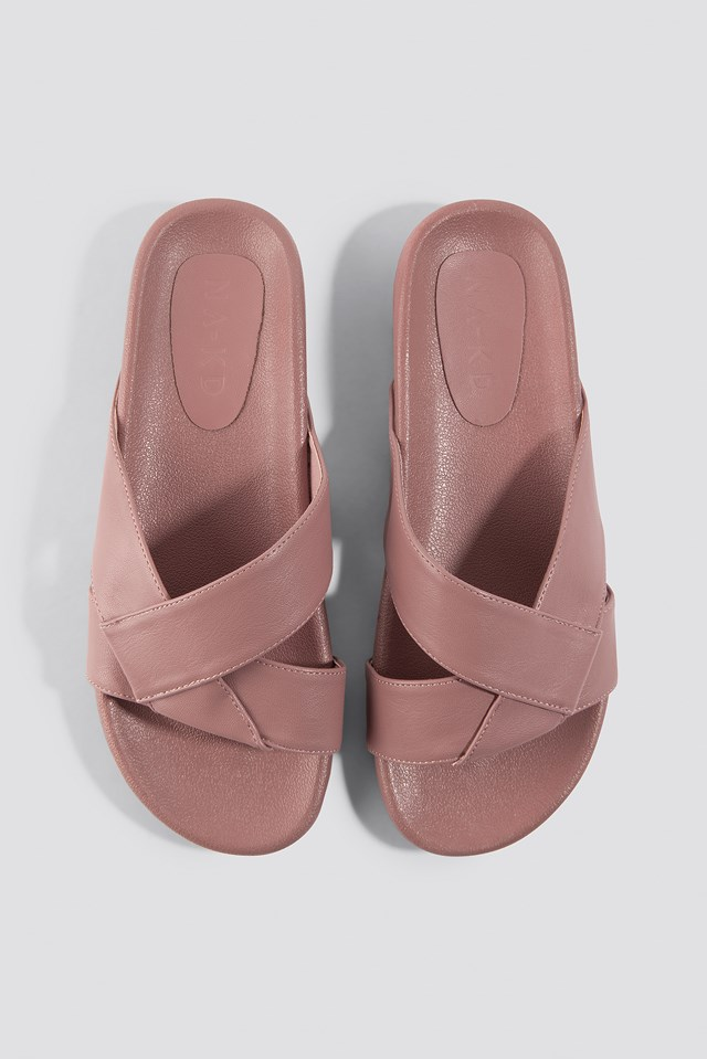 Knotted PU Slippers Dusty Pink