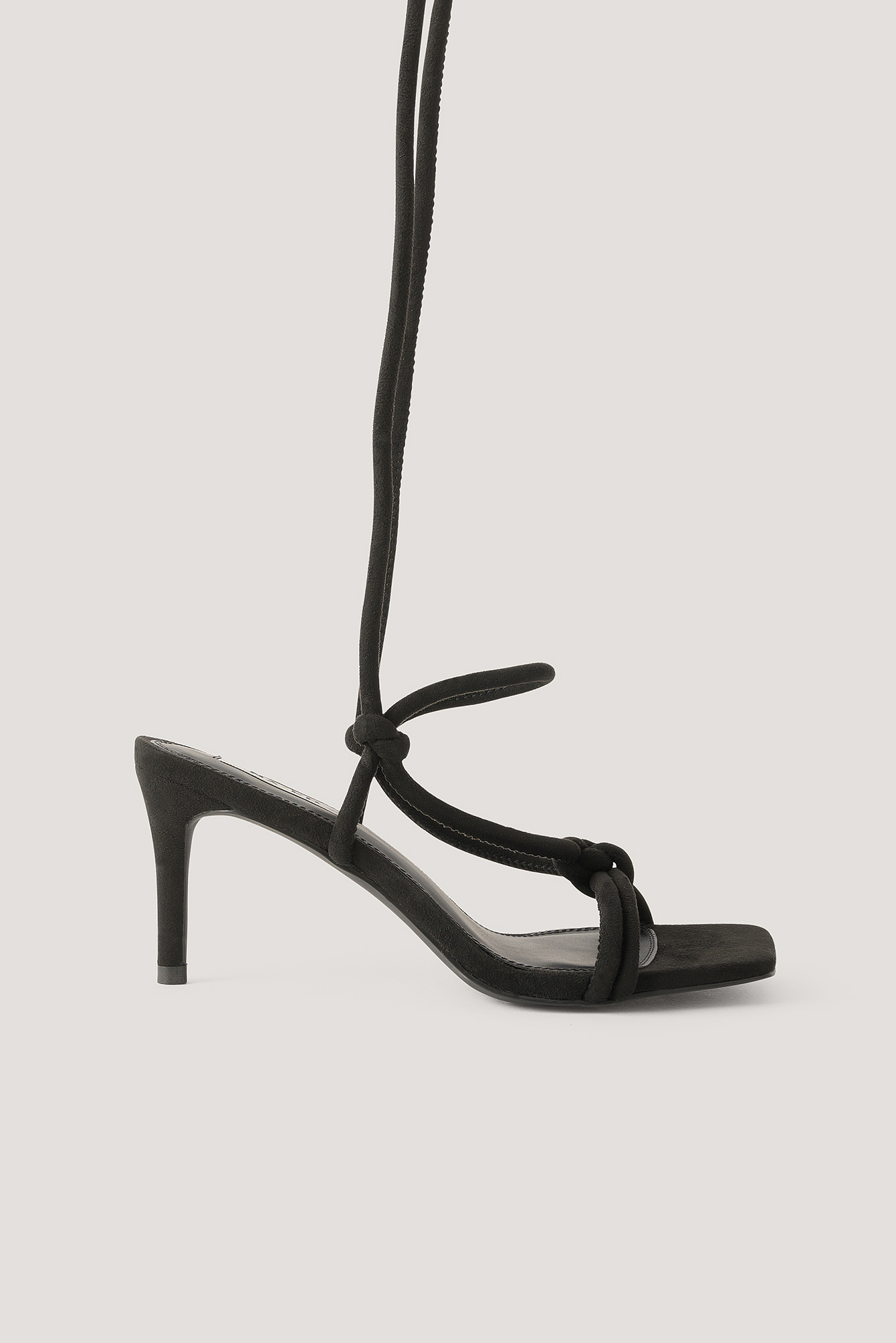 Black Knotted Straps Heeled Sandals