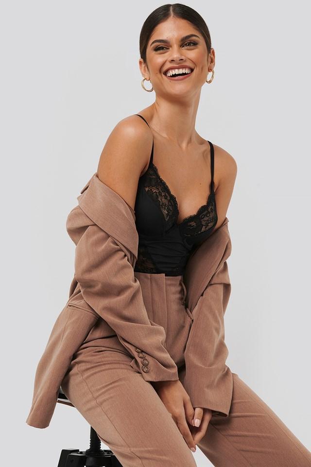 Lace Detail Bodysuit Black