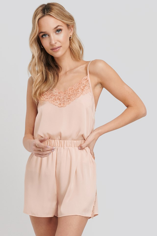 Lace Edge Night Satin Shorts Dusty Pink