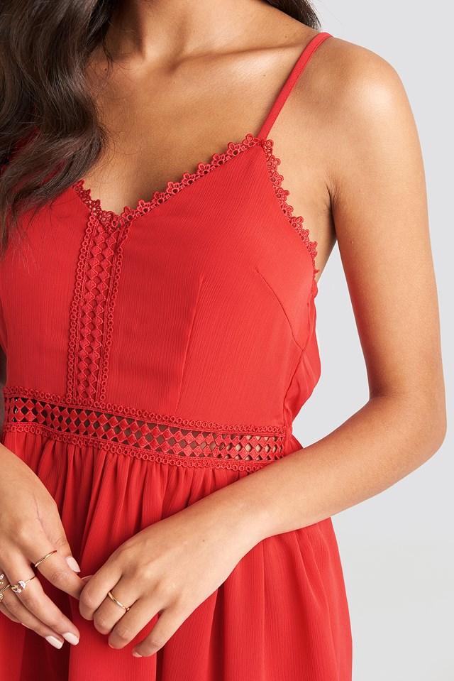 Lace Insert Flowy Mini Dress Red