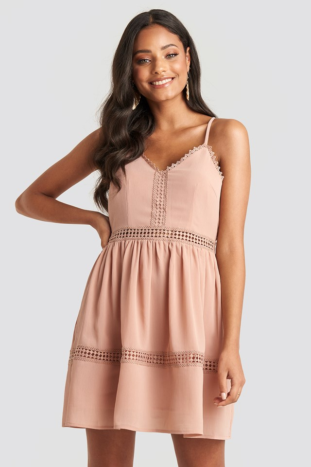 Lace Insert Flowy Mini Dress Dusty Pink