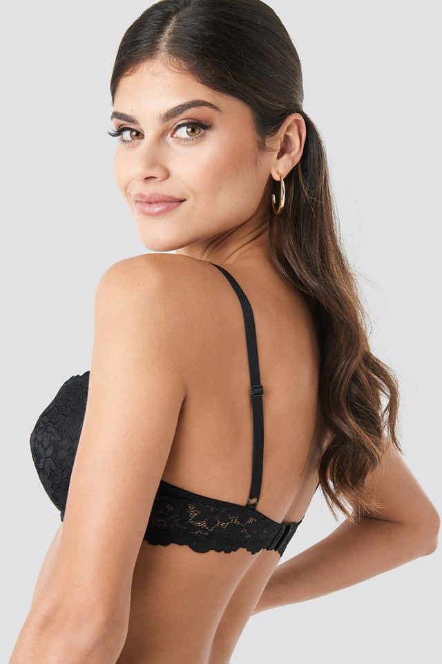 Lace Padded Cup Bra Black