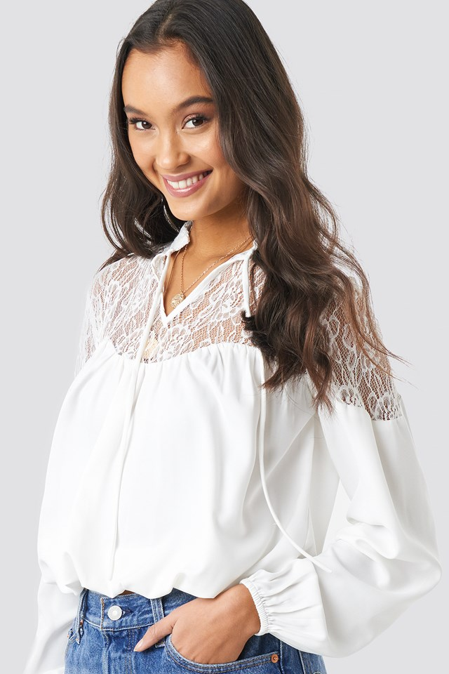 Lace Part Balloon Sleeve Blouse White