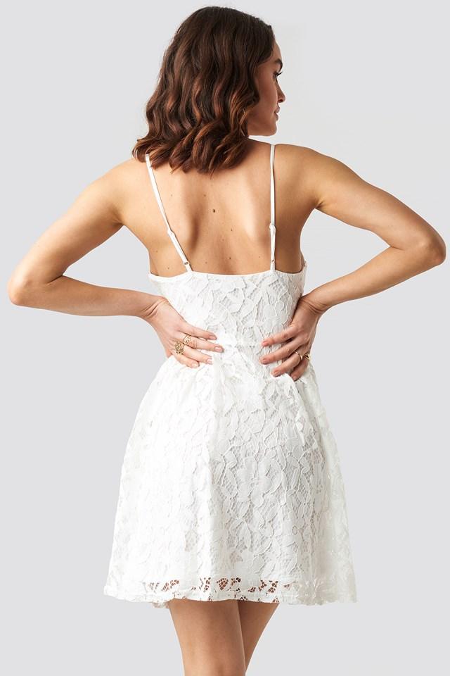Lace Strap Mini Dress White