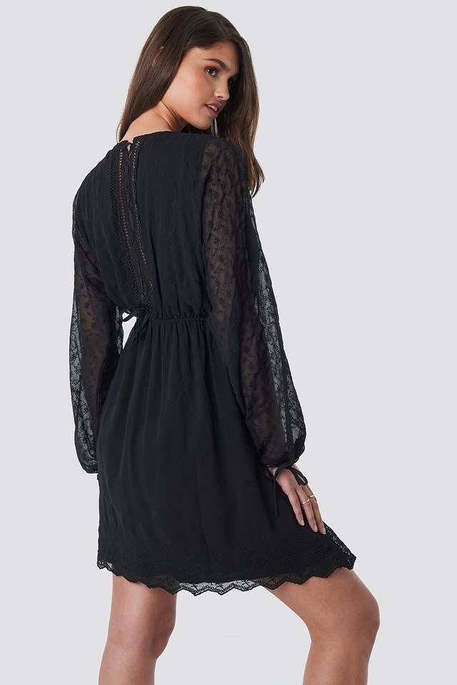 Lace-Up Back Mini Dress Black