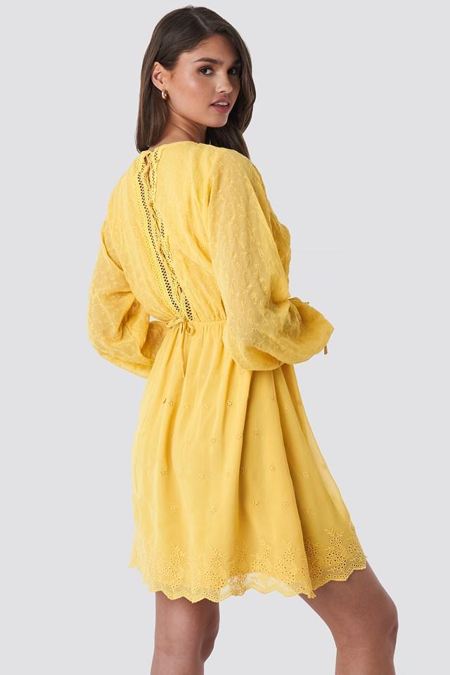 Lace-Up Back Mini Dress Light Yellow