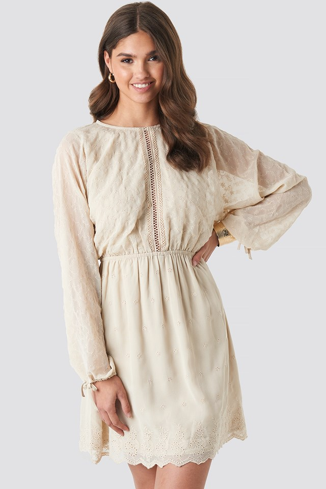 Lace-Up Back Mini Dress Beige