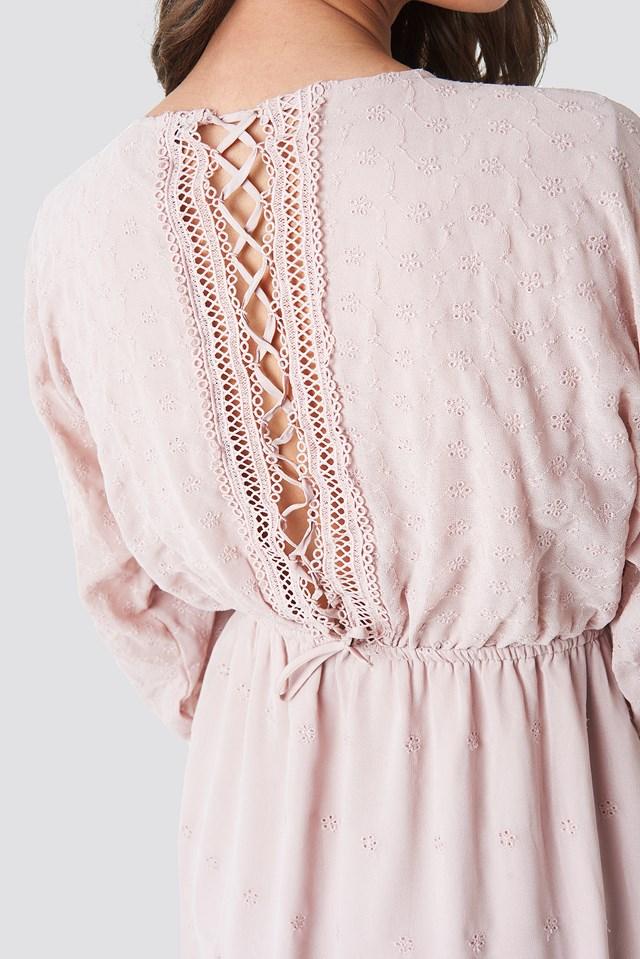 Lace-Up Back Mini Dress Powder Pink