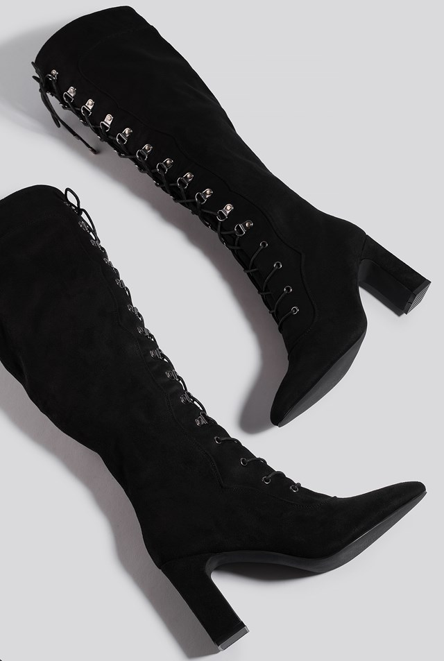 Lace Up Knee High Boots Black
