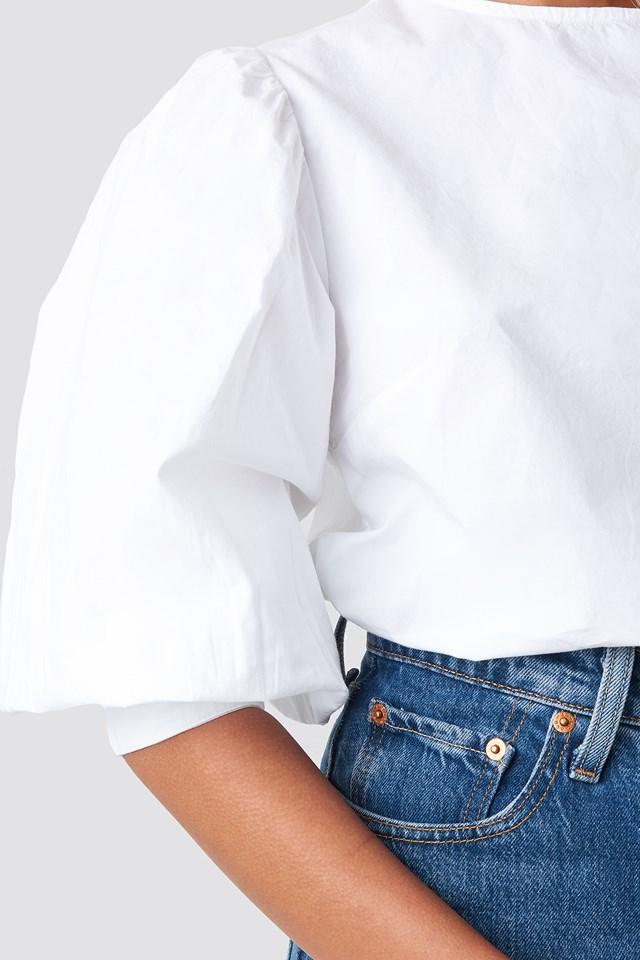 Large Cuff Puff Cotton Blouse White