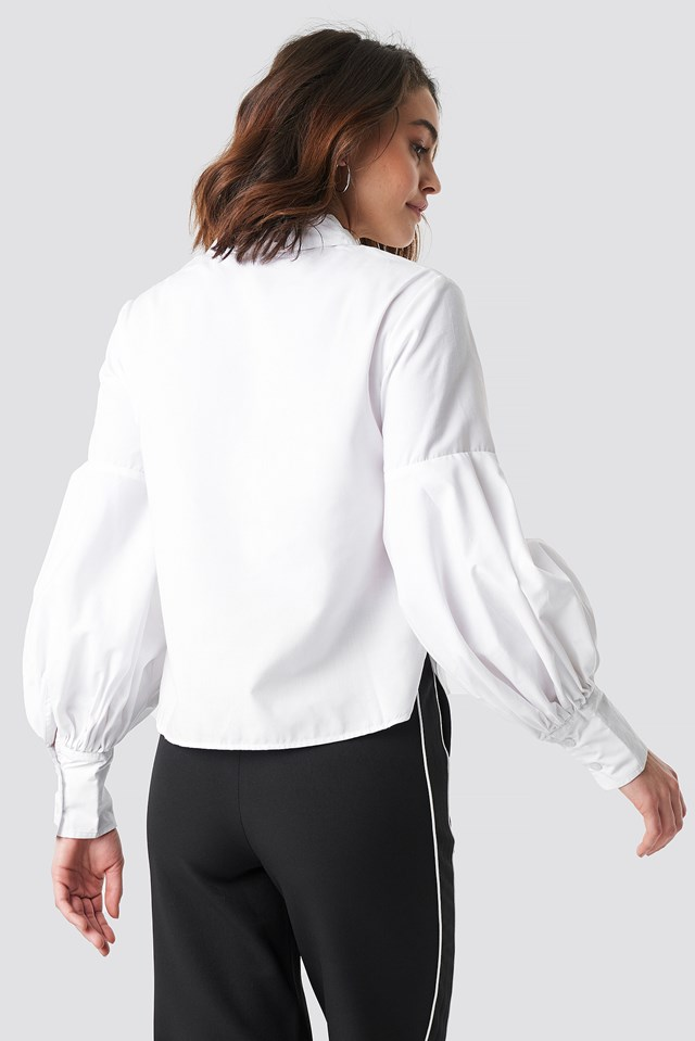 Large Cuff Wide Sleeve Shirt White