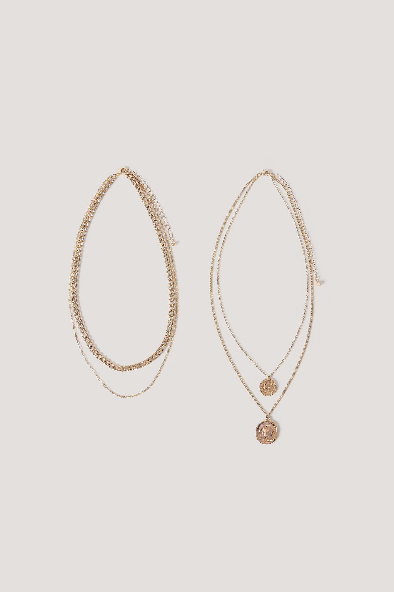 Gold Layered Coin And Chain Necklaces